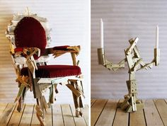 What a fantastic recycled chair and candelabra