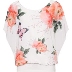 Asha Floral Butterfly Chiffon Top ($28) ❤ liked on Polyvore featuring tops, coral, butterfly top, floral chiffon top, floral print sleeveless top, flower print top and chiffon top