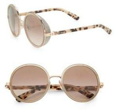 Jimmy Choo 54MM Andie Glitter-Trim Round Sunglasses Jimmy Choo Sunglasses, Round Sunglasses, Sunglasses Women, Round Tortoiseshell Glasses, Glasses Frames, Eyewear, Glitter, Diamond, Gold