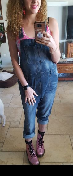 These are a pair of Gap denim overall dungarees with the rolled up pant leg. Paired with a pink and purple tie-dye tank top and dr. Martens pink metallic Pascal combat boots and accessorized the look with hot pink lipstick and matching earrings. Trendy retro hip outfit. Retro Chic, Retro Vintage, Hot Pink Lipsticks, Overalls Fashion, Dungarees, Blue Denim, Combat Boots, Tie Dye, Metallic