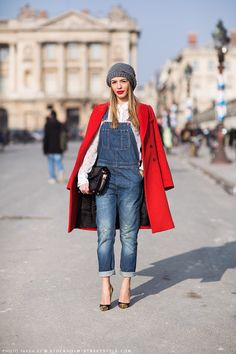 Gypsy Travel Pack Your Bags| Serafini Amelia| Denim overalls, knit cap, red coat, metal toe-capped pumps.