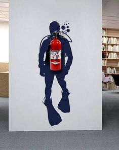 Scuba diver wall decal home office wall decor fire extinguisher scuba diver wall… Scuba Diver Wandtattoo Home Office Wanddekor Feuerlöscher Scuba Diver Wanddekor Vinyl Aufkleber Dekoration Office Wall Decor, Office Walls, Office Mural, Office Logo, Loft Office, Office Workspace, Office Style, Office Interior Design, Office Interiors