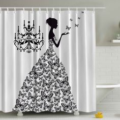 Found it at Wayfair - Madame Butterfly Print Shower Curtain