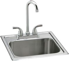 All-in-One 15 In. 2-Hole Drop-In Stainless Steel Kitchen/Bar Sink With Faucet #Elkay