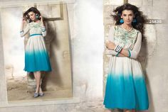 Partywear Short Kurtis Sky Blue #designerkurtis #georgettedesignerkurtis now available at ladyindia.com