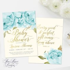 Classy Baby Boy Baby Shower Invitation, Blue Flowers and ivory background with Gold Foil Lettering and Scripture on the back!