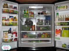 Organized and labeled fridge from organized reader, Andrea | OrganizingMadeFun.com