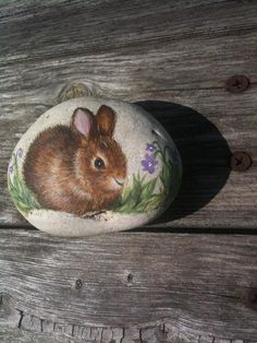 Sweet Little Baby Bunny Painted Rock with by SandyLandStudio, $25.00