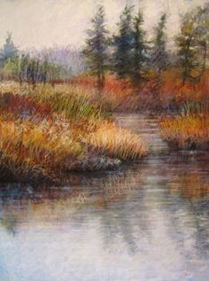 ARTFINDER: Port Wing Marina Marsh by Tonja  Sell - Plein air study of the marshy area along Lake Superior  in the small village marina of Port Wing, WI Watercolor and soft pastel study on paper  It is lis...