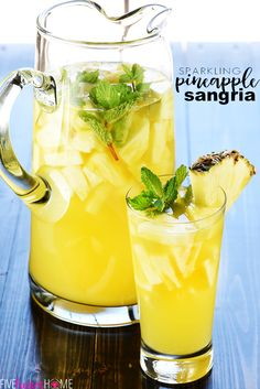 Sparkling Pineapple Sangria Recipe ~ a bubbly, refreshing, tropical summer cocktail made with just five ingredients, perfect for poolside, parties, and BBQs! | FiveHeartHome.com #pineapple #sangria #whitesangria #prosecco #summer #cocktails #drinkrecipes #recipe #fivehearthome