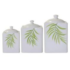 @Overstock - Add an elegant lift to your home with these dainty 3-piece canister set. This set features three similarly styled canisters in different sizes. Centered by a graceful bamboo print, these white canisters retain their glow for many years.http://www.overstock.com/Home-Garden/Corelle-Bamboo-Leaf-3-piece-Canister-Set/5533067/product.html?CID=214117 $35.99