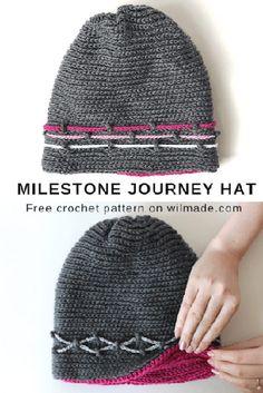 Milestone Journey Hat - free crochet hat pattern by Wilma Westenberg on Wilmade. Easy Crochet, Free Crochet, Knit Crochet, Crochet Baby, Crochet Mittens Free Pattern, Crochet Stitches, Crochet Patterns, Knitting Patterns, Crochet Beanie