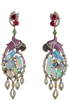 Fantasie Pretty Polly Earrings | 18ct white gold, diamond, sapphire and garnet by Wendy Yue | Haute Tramp