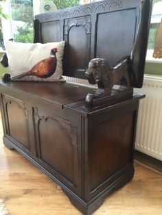 Jacobean monks bench / #settle / #church pew / #storage chest ,  View more on the LINK: http://www.zeppy.io/product/gb/2/112076942075/