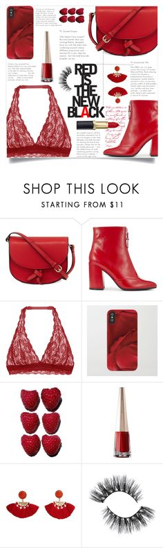 """""""Wishlist: Red Is The New Black"""" by artbyjwp ❤ liked on Polyvore featuring KC Jagger, Miss Selfridge, Cosabella and MANGO"""