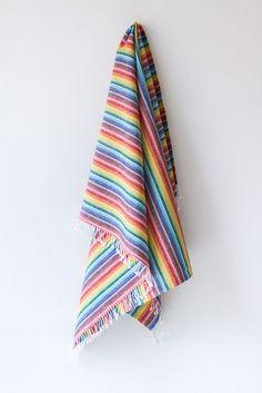 Rainbow Linen Beach Towel