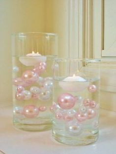 80 Light Pink/Baby Pink and White Pearls Jumbo and Assorted Sizes - Vase Fillers Value Pack...To Float the Pearls, you will need to order the Transparent Water Gels Separately...