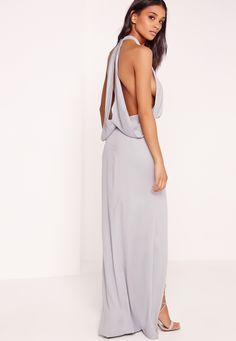 Missguided - Cowl Back Maxi Dress Grey
