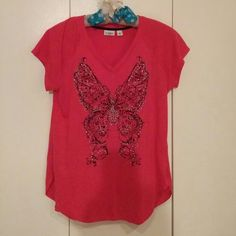 Cato embellished tee Short sleeves, v-neck, embellished butterfly design, hot pink color, wore only once, excellent condition Cato Tops Tees - Short Sleeve