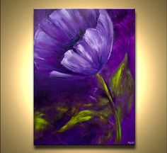 """40"""" Wild Blooming Poppy Original Contemporary Acrylic Purple Green Floral Painting on canvas by Osnat ready to hang"""