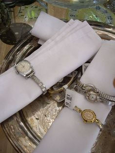 vintage watches as napkin rings