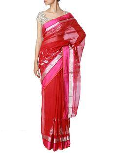7dff6df270c This unique crimson hand-woven saree from Raw