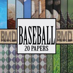 Baseball Digital Papers! 20 Printable Digital Baseball Scrapbook Papers! Instant Digital Download, printable Scrapbooking Papers!