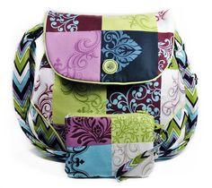 Hobo Shoulder Bag Patchwork Purple Green by MysticRainCreations, $60.00