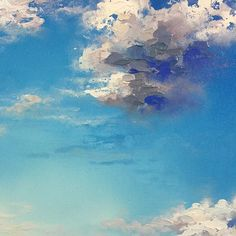 "I ❤️ cloudy skies! ""Deeply Rooted"" 24""x24"" Acrylic Fall Prairie River Painting on Canvas. MELISSA MCKINNON Contemporary Abstract Landscape Artist features BIG COLOURFUL PAINTINGS of Aspen & Birch Trees, Rocky Mountains and stunning views of the Canadian prairies, big skies and ocean beaches. Fine Art available for sale. {Detail image of blue sky and white fluffy clouds}"