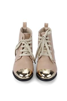 Gold-tone Metal Toecap Lace up Boots $65 - these look super rad, and the price is even quite ok =)