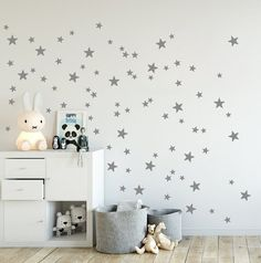 Mini Stars Wall Decals, Mixed Set Of 90 Little Stars, 2 Up To 4 Cm Sized In  Gold, Grey, Star Wall Stickers, Kids Room Decals U0026 Home Decor