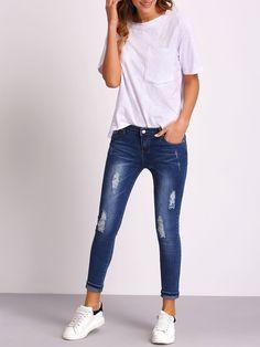 pantalon en denim effet déchiré -bleu