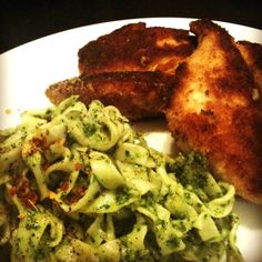 Arugula Pesto Pasta with Crunchy Breadcrumb Crusted Chicken