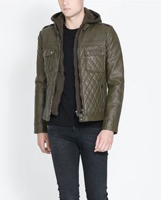 FAUX LEATHER JACKET WITH CIRCULAR HOOD - Jackets - Man - New collection | ZARA United States