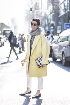 Garance Dore Paris Fashion Weel Yellow coat outside Kenzo