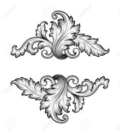 Vintage baroque frame scroll ornament engraving border retro..
