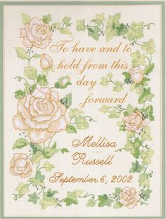 Dimensions Delicate Floral Wedding Record No Count Cross Stitch Kit 39013 Find this at Lenarow Limited's ebay store or Instore at #Wools & Crafts 169 Blackstock Rd #London N4 2JS @finsbury_pk tel 020 7359 1274 #sewing #embroidery