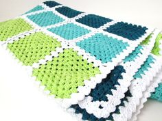 make this blanket for my son, adjust colors to his faves kelly green, lime green, navy blue, aqua, with grey trim