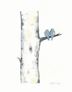 Blue Gray Birch Tree Love No. 3 / Love Birds / Romance / watercolor print / grey / black and white and yellow / Archival