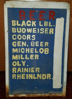 Vintage Rustic Beer Sign Hand Painted Price Display - Neat Folk Art Piece | eBay