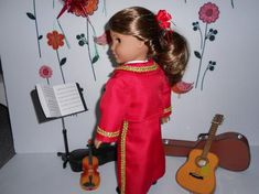Mariachi charra suit traje red gabardine gold trim for American Girl doll or similar 18 in handmade Mariachi Suit, Line Jackets, Lace Up Boots, American Girl, Cold Shoulder Dress, Dress Up, Suits, Red, Cotton