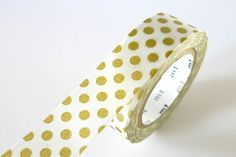 A gold washi tape with big dot pattern - Japanese Washi Tape is perfect for creative projects such as scrapbooking, collage, unique gift wrapping /