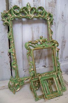 Ornate green frame grouping vintage hand by AnitaSperoDesign, $255.00