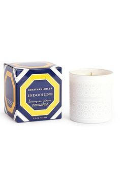 """Smells like: lime peel lemon grass Himalayan sage verbena leaves cardamom and ginger root.  Feels like: a Graham Greene novel strolling through a lemongrass field sipping on a Singapore Sling.  3.5"""" H  7.5 oz. candle  Approximate burn time: 40 hours Indochine Candle by Jonathan Adler. Home & Gifts - Home Decor - Candles & Scents Amarillo Texas"""