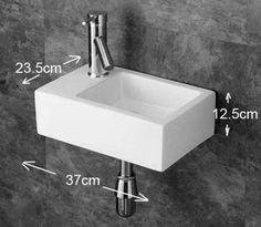 Taranto Ceramic Left Rectangular Wash Basin Sink 370 x 235 Basin Sink, Bathroom Basin, Small Bathroom, Bathroom Ideas, Cloakroom Sink, Downstairs Cloakroom, Small Basin, White Wall Tiles, Wall Mounted Basins