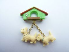 Celluloid doggie brooch vintage 1940s animal pin by Cabinet22