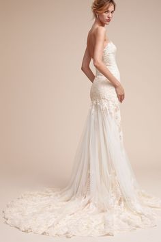 Leigh Gown, romantic wedding dress, curve-hugging, strapless, lace train // BHLDN