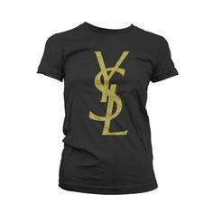 black and gold ysl t shirt