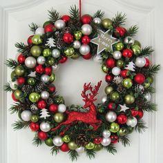 Türkranz Weihnachten rot weiß grün 33cm Kugelkranz Kranz Tanne Weihnachtskranz