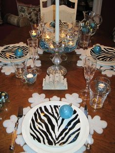 Tablescapes for Parties | This tablescape started with these fabulous zebra plates!! I knew ...
